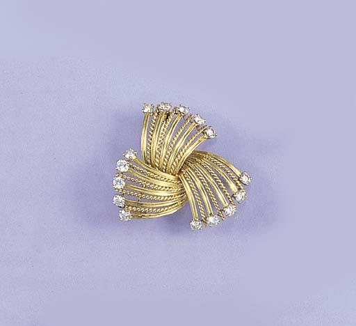 A Cartier diamond trefoil spra