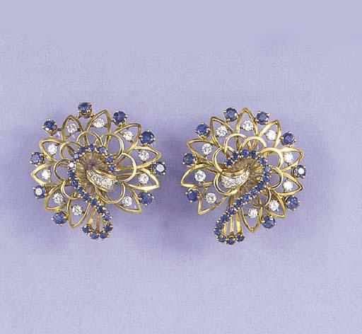 A pair of French Retro sapphir
