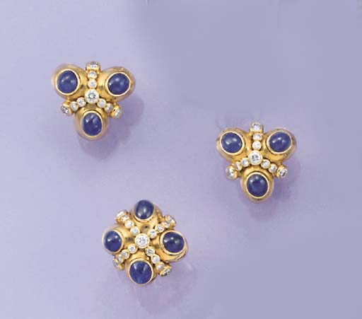 An 18ct. gold, sapphire and di