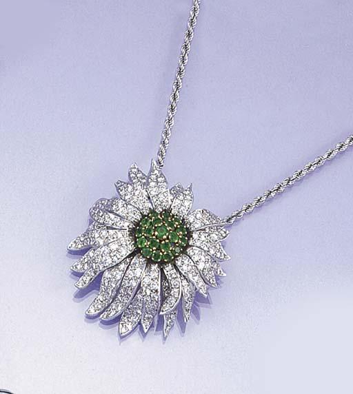 A diamond and emerald flowerhe