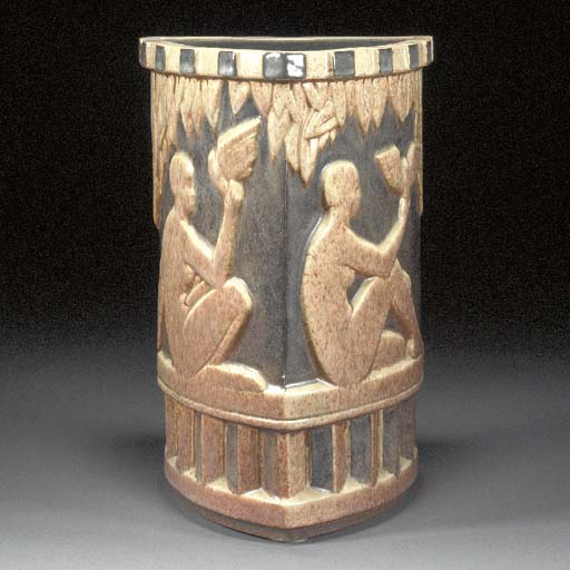 AN EARTHENWARE VASE