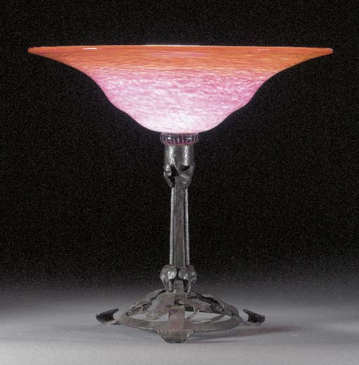 A GLASS AND WROUGHT-IRON TAZZA