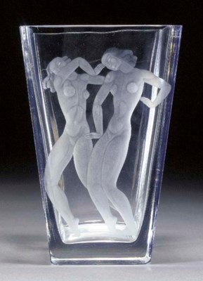 A CLEAR GLASS VASE