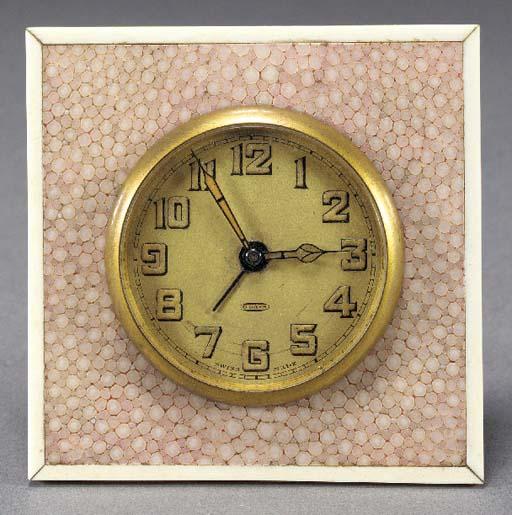 A PINK SHAGREEN CLOCK