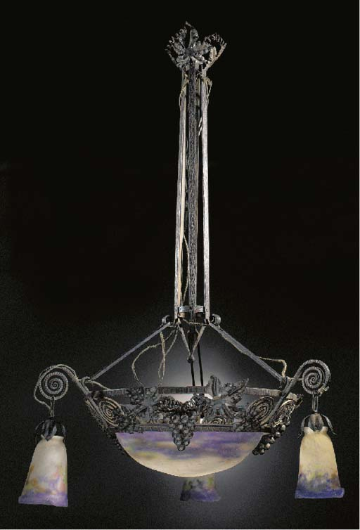 A WROUGHT-IRON AND GLASS PLAFO