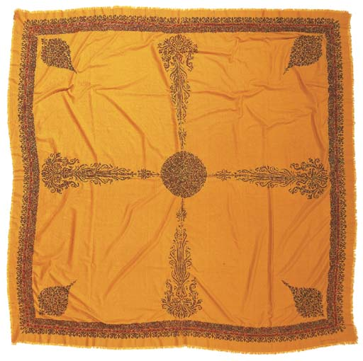 An embroidered shawl of saffro
