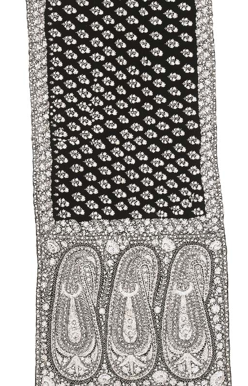 An embroidered sash of black w