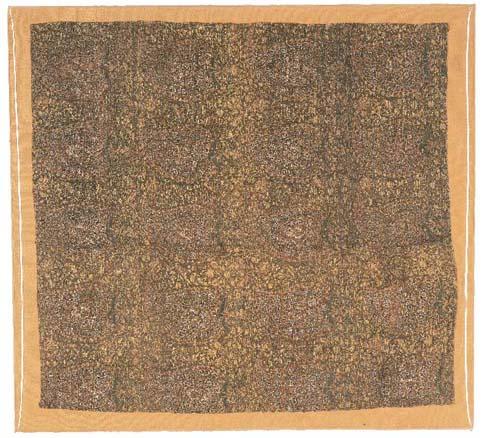 A silk panel, brocaded in silk