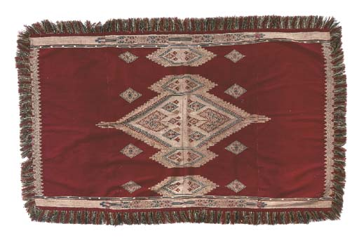 A wool and silk flatweave hang