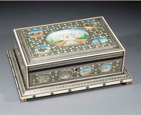 An Indian ivory inlaid box wit