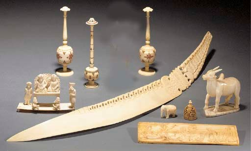 A group of Indian ivory carvin