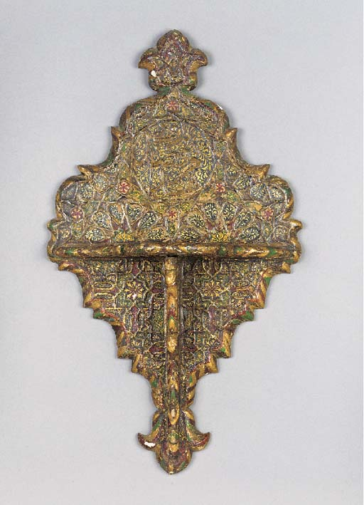 An Ottoman painted and giltwood kavukluk 18th Century