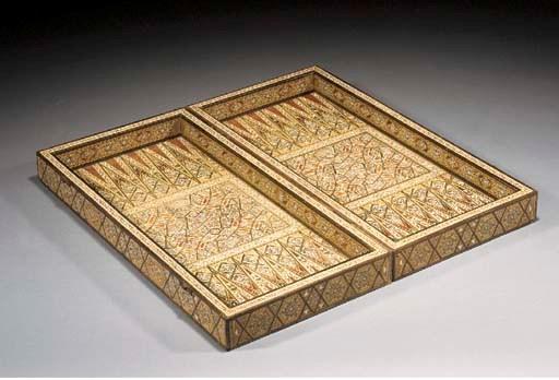 A wood inlaid backgammon box 2