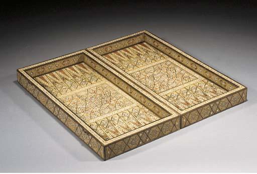 A wood inlaid backgammon box 20th Century