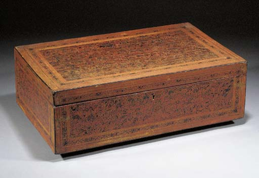A Thai red lacquer box and hin