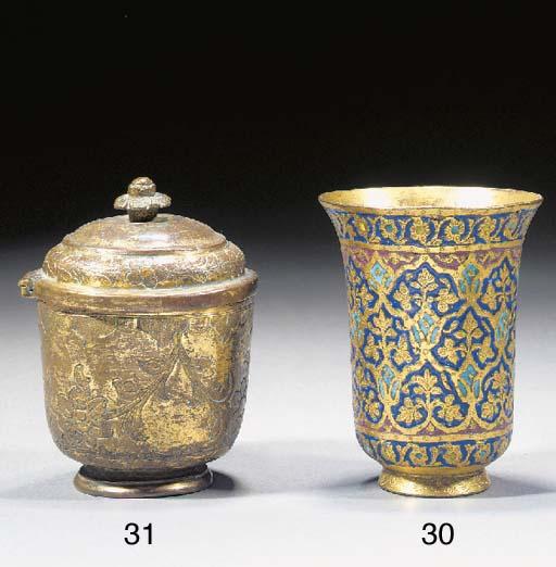 An enamelled Kashmir gilt copper beaker 19th Century