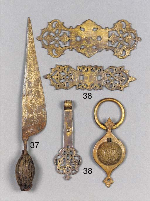 A Persian damascened steel kni