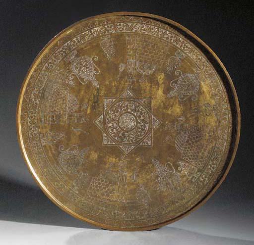 A large Tombak gilt copper tra