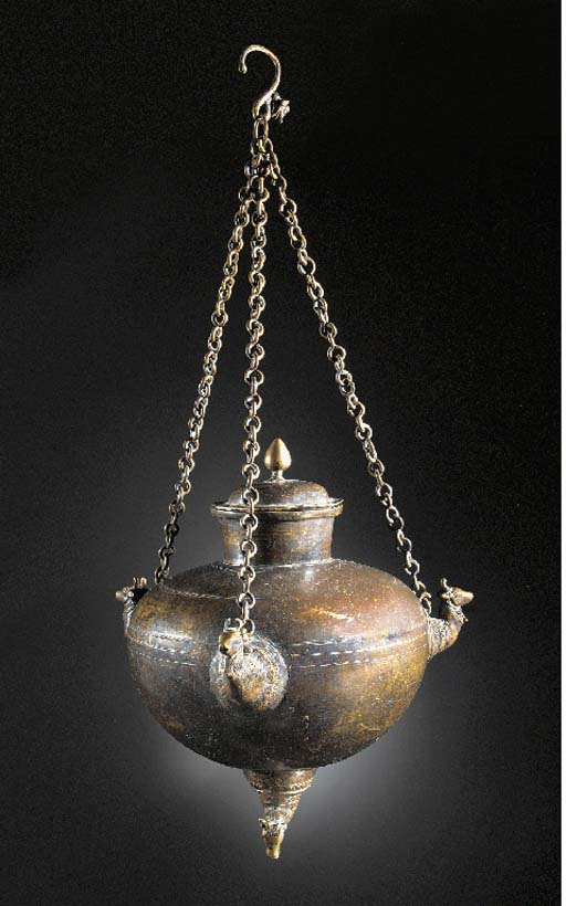 An Indian bronze hanging oil lamp 19th Century