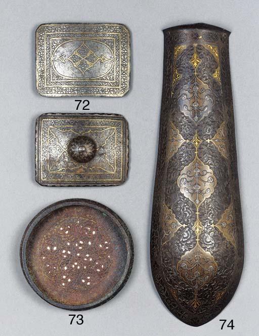 A Qajar silver and gilt inlaid