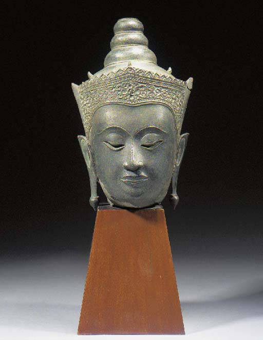 A Thai bronze head of Buddha 17/18th Century