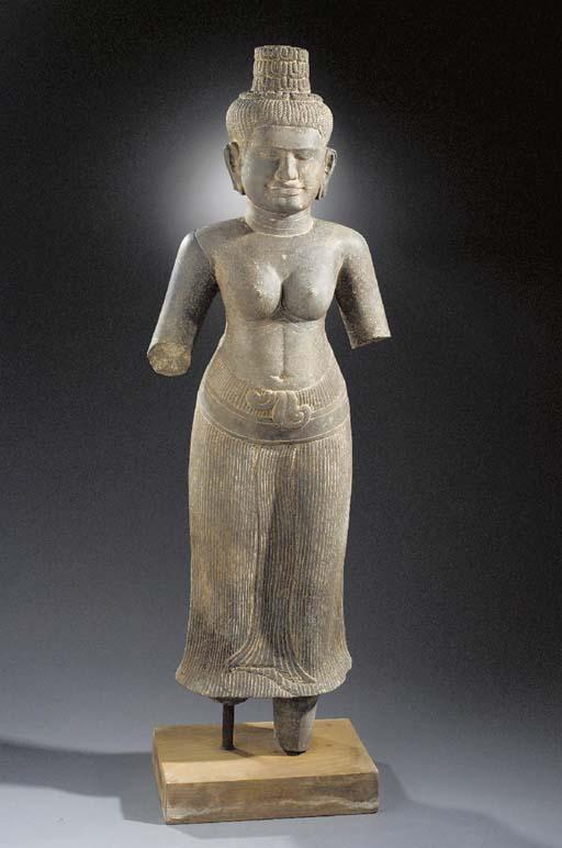 A large stone figure of Prajna