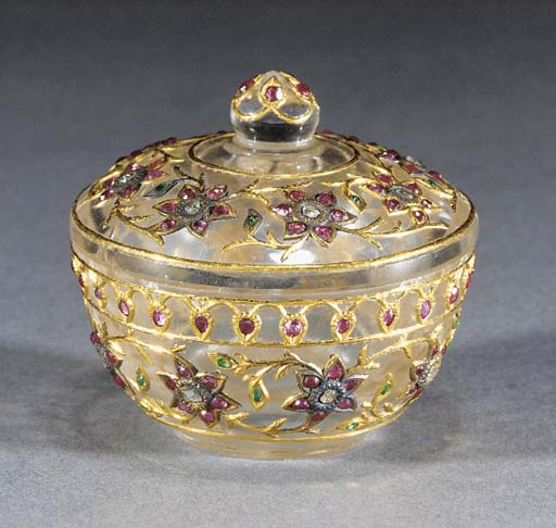 A Mughal gem set crystal box a