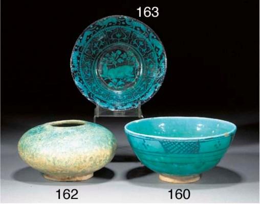 A Kashan turquoise glazed comp