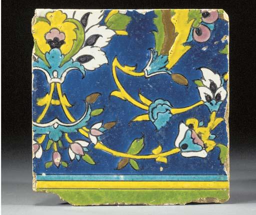 A Safavid style square pottery