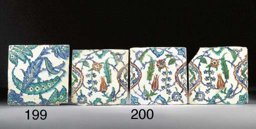 Three Iznik square tiles 17th