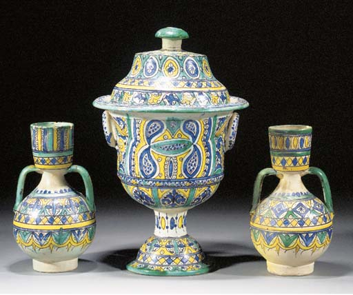 A Moroccan three piece pottery