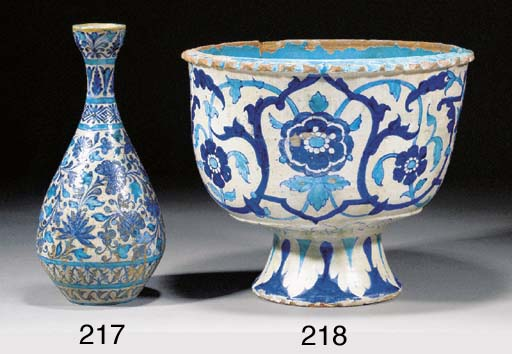 A Sind pottery footed jardinie