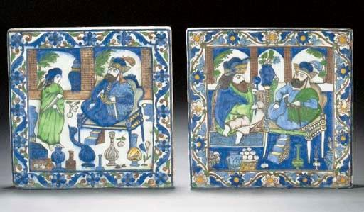 Two similar Qajar moulded tile