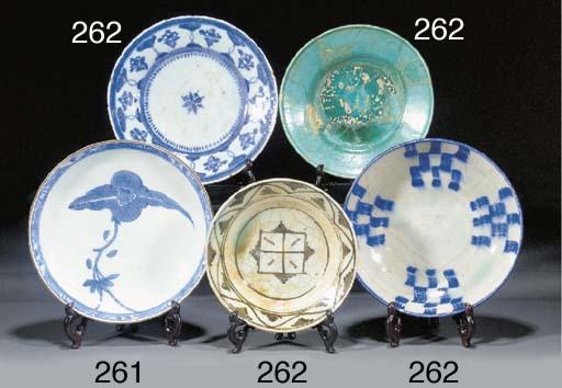 A Kirman blue and white dish F
