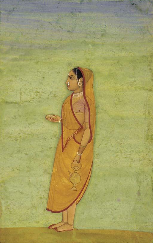 Lady Going to Worship Mughal,