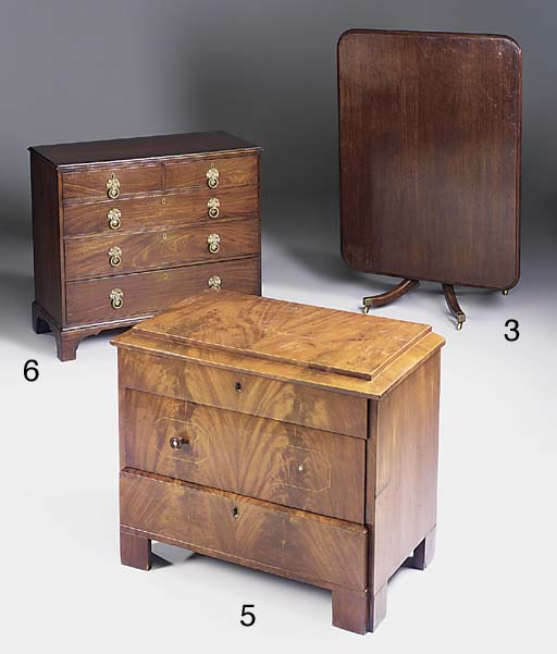 A mahogany chest of drawers, s
