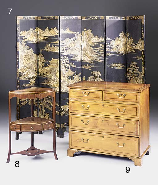 A fruitwood chest of drawers,