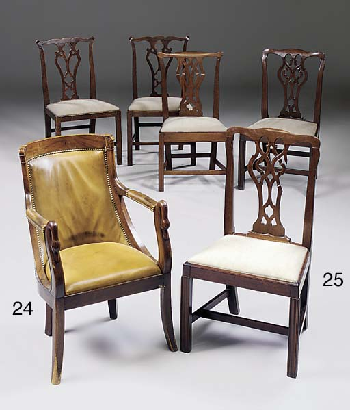 Five mahogany dining chairs, G