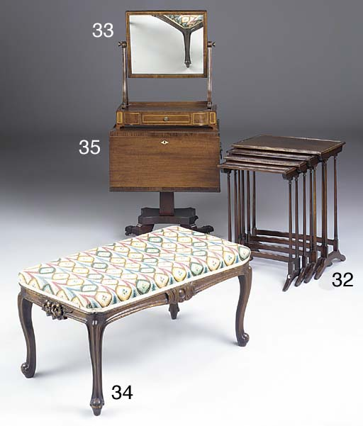 A stained beechwood long stool, first half of the 20th century