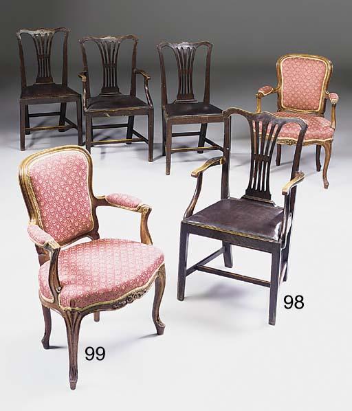 A set of four oak fauteuils, l