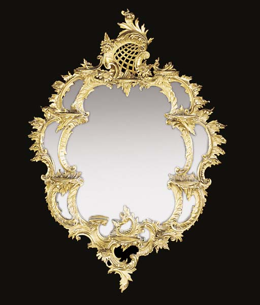A giltwood wall mirror, 20th c
