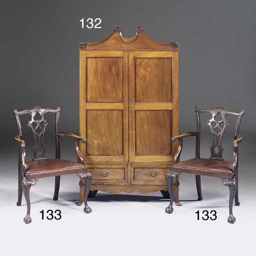 A mahogany gun cabinet, parts