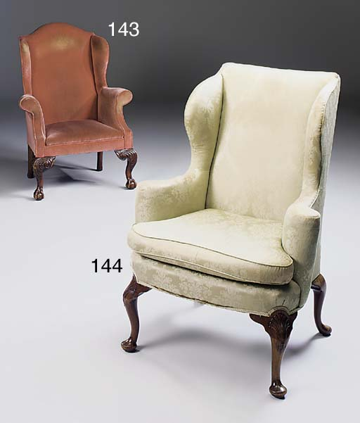 A walnut wing armchair, mid 20