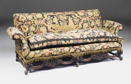 A walnut needlework upholstere