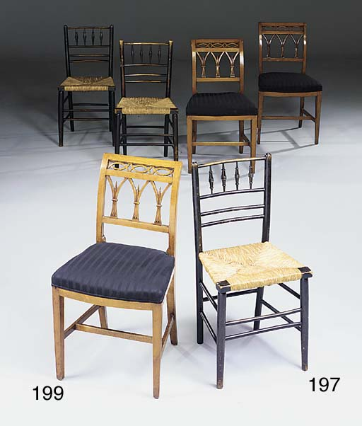 A set of six Scandinavian beechwood dining chairs, early 19th century