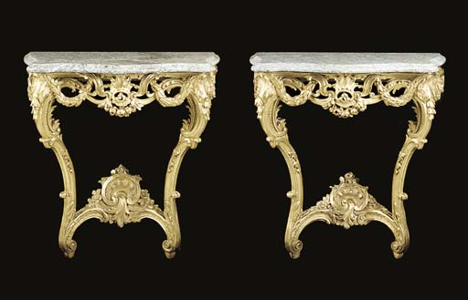 A pair of giltwood serpentine console tables, 20th century