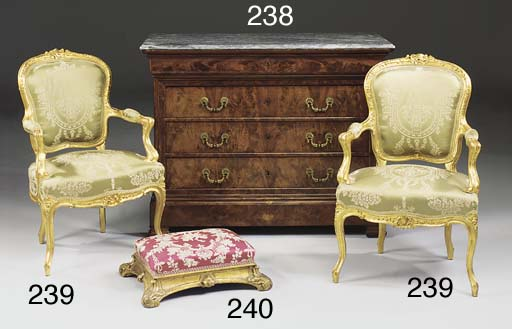 A giltwood foot stool, second