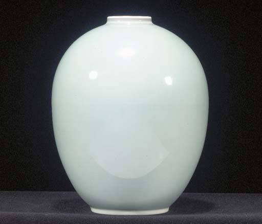 A bone china ovoid vase