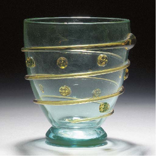 A Whitefriars green glass vase