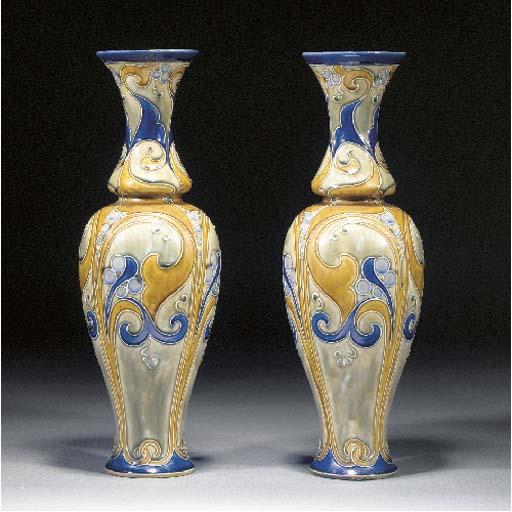 A pair of Royal Doulton stoneware vases